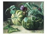 A Still Life of Pumpkins and Artichokes Giclee Print by Carl Vilhelm Balsgaard