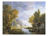 A River Scene in France Giclee Print by Charles Euphrasie Kuwasseg
