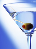 Green Olive in Martini Drink Photographic Print by Steve Lupton
