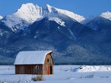 Snow Covered Barn and Mountain Photographic Print by Marc Muench