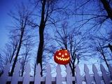 Lit Jack o'-Lantern Perched on Picket Fence Reproduction photographique par Ralph Morsch