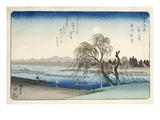 Autumn Moon at Tama River, from the Series Eight Views of the Suburbs of Edo Giclee Print by Ando Hiroshige