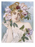 Poster of Young Woman with Flowers in Hair by Gaston-Gerard Giclee Print