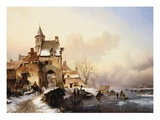 Figures Crossing a Bridge Giclee Print by Frederik Marianus Kruseman