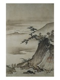View of Mountains and a Bridge from Eight Views of the Xiao and Xiang Rivers Giclee Print by  Shokei