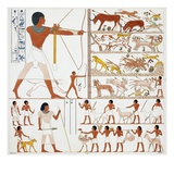 Illustration of Egyptian Frescoes of Hunting Scenes by Frederic Cailliaud Giclee Print by  Stapleton Collection