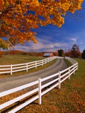 White Wooden Fence Along Farm Photographic Print by Bob Krist