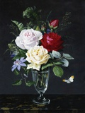 A Still Life of Roses and Clematis Photographic Print by Olaf August Hermansen