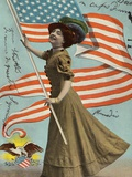 Postcard of Woman Waving American Flag Photographic Print by Rykoff Collection
