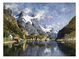 A Norwegian Fjord Painting by Adelsteen Normann Giclee Print