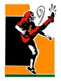 Football Player Kicking Giclee Print