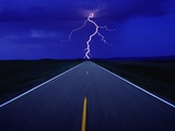 Road and Lightning Photographic Print by L. Clarke