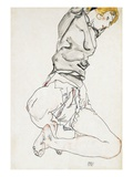Reclining Woman with Blond Hair Giclee-vedos tekijn Egon Schiele