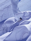 Person Skiing on Glacier in Alps Photographic Print