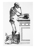Print of a Skeleton Contemplating a Skull Giclee Print by  Bettmann
