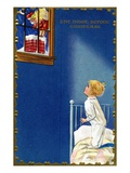 The Night Before Christmas with a Child Watching Santa Giclee Print