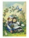Illustration of Raggedy Ann and Raggedy Andy with Two Robins by Johnny Gruelle Giclee Print