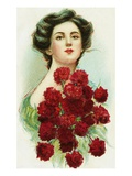 Postcard of Woman with Red Carnations Giclee Print