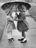 Girls Sharing an Umbrella Photographic Print by Josef Scaylea
