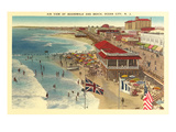 Boardwalk and Beach, Ocean City, New Jersey Prints
