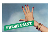Fresh Paint with Hand, Retro Print