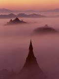 Pagoda in the Mist at Mrauk-U, Burma Photographic Print by Christophe Loviny