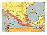 Descriptive Map of Mexico Poster