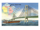 Mackinac Straits Bridge and Map, Michigan Prints