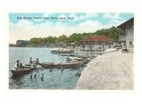 Boat Houses, Goguac Lake, Battle Creek, Michigan Print