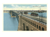 Eads Bridge, Streetcars, St. Louis, Missouri Poster
