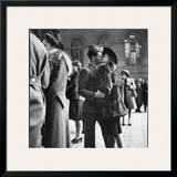 Couple in Penn Station Sharing Farewell Kiss Before He Ships Off to War During WWII Framed Photographic Print by Alfred Eisenstaedt