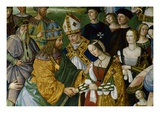 Detail of Fresco Painting of Frederick III's Betrothal to Eleonora of Portugal by Pinturicchio Premium Giclee Print by S. Vannini