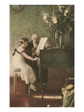 Grandfather Teaching Girl Pianoforte Posters