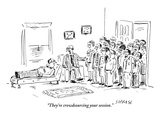 """""""They're crowdsourcing your session."""" - New Yorker Cartoon Premium Giclee Print by David Sipress"""