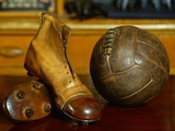 1900s Soccer Ball and Boots Photographic Print by S. Vannini