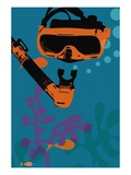 Snorkeling illustration Giclee Print