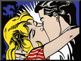 Kiss II, c.1962 Druck aufgezogen auf Holzplatte von Roy Lichtenstein