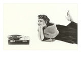 Heavily Browed Lady Listening to Record Player Print