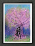 Lovers Dance under Full-Bloomed Cherry Blossoms Framed Giclee Print by Mariko Miyake