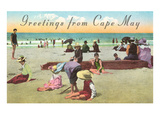 Greetings from Cape May, New Jersey, Beach Scene Posters