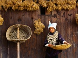 Miao Woman and Drying Produce Photographic Print by Keren Su