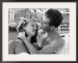 Italian Man Combing His Girlfriend's Hair Framed Photographic Print by Paul Schutzer