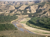 Badlands and Little Missouri River Photographic Print by Tom Bean