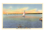 Sailboats, Saginaw Bay, Bay City, Michigan Prints