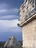 Pyramid of the Magician Behind the Nunnery Quadrangle at Uxmal Photographic Print by Ludovic Maisant