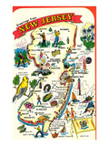 Map of New Jersey with Attractions Prints