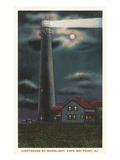 Moon over Lighthouse, Cape May, New Jersey Prints