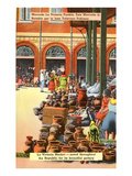 Pottery Market, Puebla, Mexico Giclee-tryk i høj kvalitet