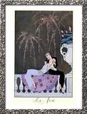"The Fire, Illustration for ""Fetes Galantes"" by Paul Verlaine 1924 Framed Giclee Print by Georges Barbier"