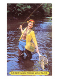 Greetings from Montana, Fishing Lady, Montana Art